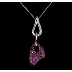 14KT-18KT White Gold 1.40 ctw Pink Sapphire and Diamond Pendant with Chain