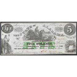 1864 $5 The State of Alabama Confederate Treasury Note