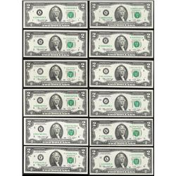 District Set of (12) 1976 $2 Federal Reserve Notes Uncirculated