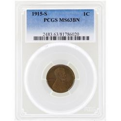 1915-S Lincoln Wheat Penny Coin PCGS MS63BN