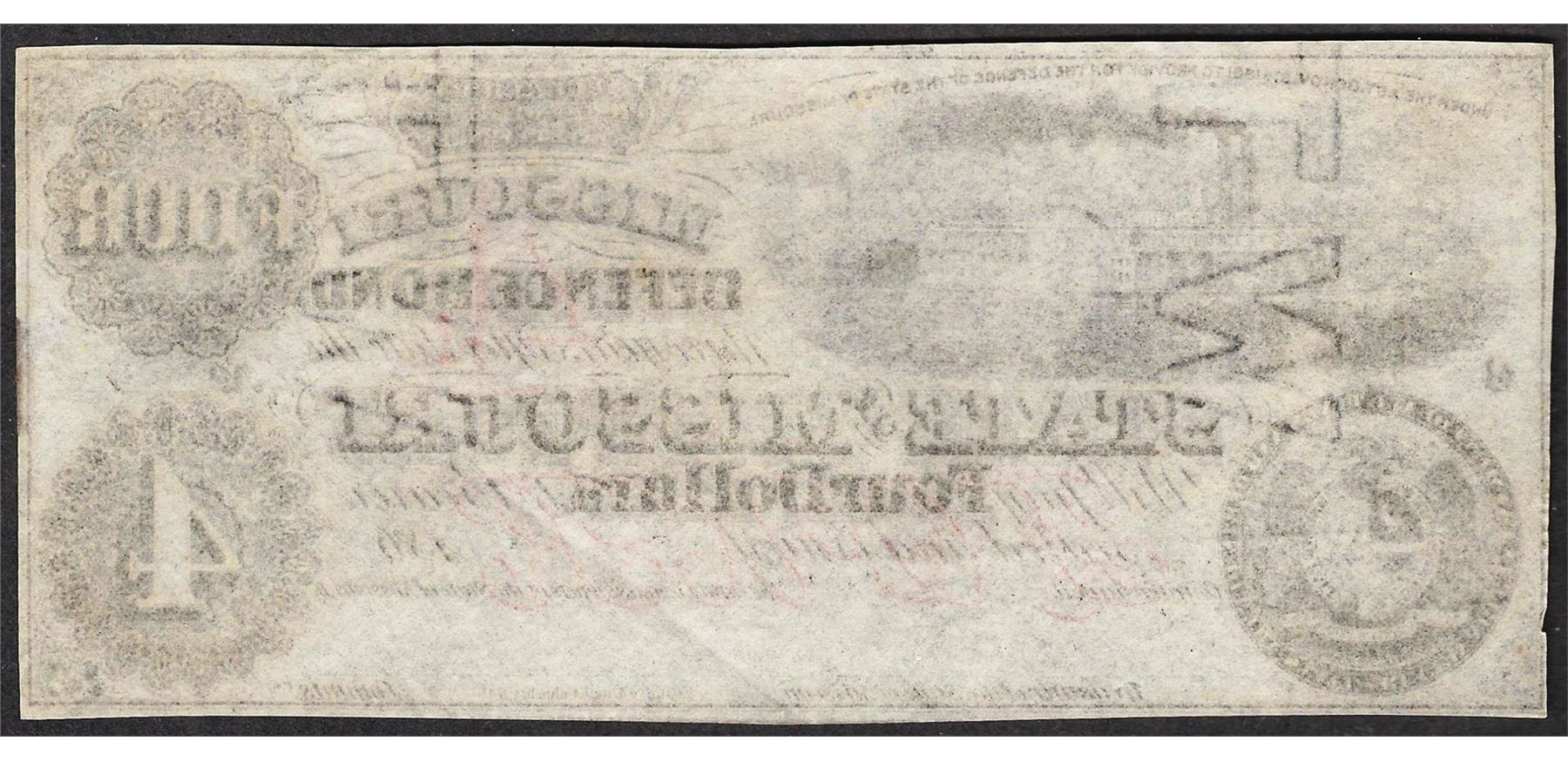 1860s 4 The State Of Missouri Defence Bond Obsolete Note