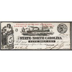 1863 $5 The State of North Carolina Obsolete Note