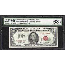 1966 $100 Legal Tender Note Fr.1550 PMG Choice Uncirculated 63EPQ