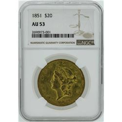 1851 $20 Liberty Head Double Eagle Gold Coin NGC AU53