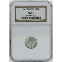 1945-S Micro S Mercury Dime Coin NGC MS66