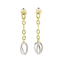 18KT Yellow and White Gold 0.80 ctw Diamond Earrings