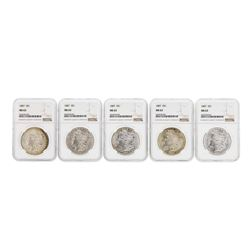 Lot of (5) 1887 $1 Morgan Silver Dollar Coins NGC MS63