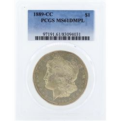 1889-CC $1 Morgan Silver Dollar Coin PCGS MS61DMPL