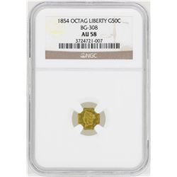 1854 Octagon Liberty Head Half Dollar Gold Coin NGC AU58