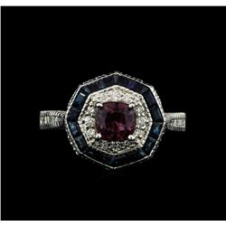 18KT White Gold 2.38 ctw Purple Sapphire and Diamond Ring