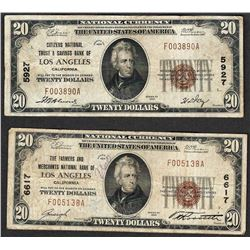 Lot of (2) 1929 $20 Los Angeles California National Currency Notes