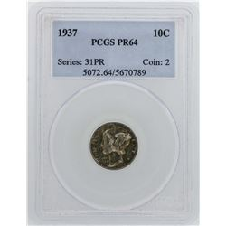 1937 Mercury Dime Proof Coin PCGS PR64