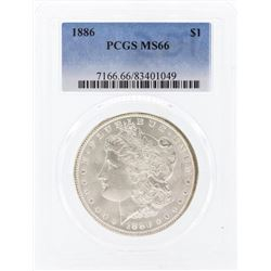 1886 $1 Morgan Silver Dollar Coin PCGS MS66