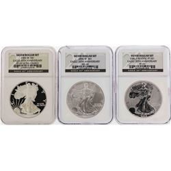 Set of (3) 2006-W $1 American Silver Eagle Coins NGC PF69/MS69