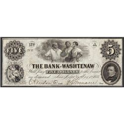 1854 $5 The Bank of Washtenaw Obsolete Note