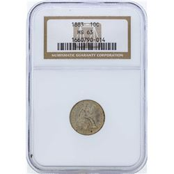 1883 Seated Liberty Dime Coin NGC MS63