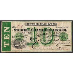 1862 Ten Cents Stowell Chamberlain & Co. Obsolete Note