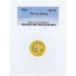 1904 $2 1/2 Liberty Head Quarter Eagle Gold Coin PCGS MS62