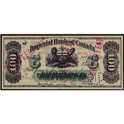 1917 $100 Imperial Bank of Canada British American Bank Note - Contemporary Coun