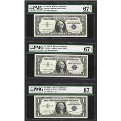 Lot of (3) 1957A $1 Silver Certificate STAR Notes PMG Superb Gem Uncirculated 67