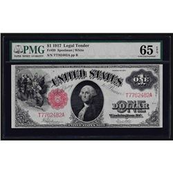 1917 $1 Legal Tender Note Fr.39 PMG Gem Uncirculated 65EPQ