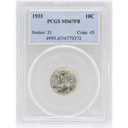 1935 Mercury Dime Coin PCGS MS67FB