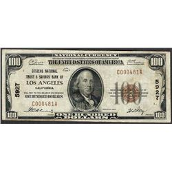 1929 $100 Citizens National Trust & Savings Bank of Los Angeles Note CH# 5927