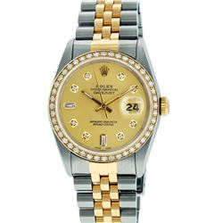 Rolex Mens Two Tone Champagne Diamond Datejust Wristwatch