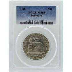 1936 Delaware Tercentenary Commemorative Half Dollar Coin PCGS MS65