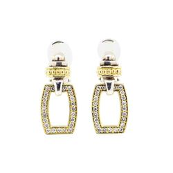Sterling Silver and 18KT Yellow Gold 0.60 ctw Diamond Earrings