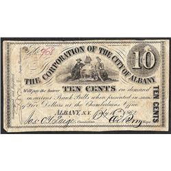 1862 Ten Cents The Corporation of the City of Albany Obsolete Note