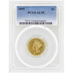 1855 $3 Indian Princess Head Gold Coin PCGS AU55