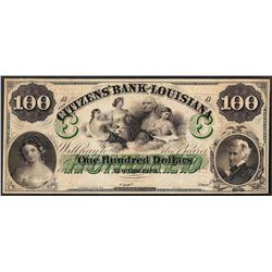 1800's $100 The Citizens Bank of Louisiana Obsolete Note