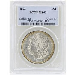 1893 $1 Morgan Silver Dollar Coin PCGS MS63