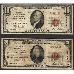 1929 $10 & $20 New York New York National Currency Note CH# 2370
