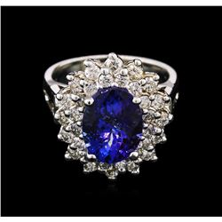 14KT White Gold 3.50 ctw Tanzanite and Diamond Ring