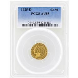 1925-D $2 1/2 Indian Head Quarter Eagle Gold Coin PCGS AU55