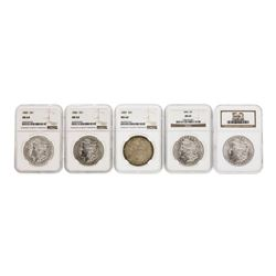 Lot of (5) Assorted Philadelphia Mint $1 Morgan Silver Dollar Coins NGC MS64