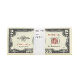 Lot of (100) 1953 $2 Legal Tender Notes