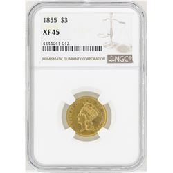 1855 $3 Indian Princess Head Gold Coin NGC XF45