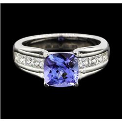 14KT White Gold 2.04 ctw Tanzanite and Diamond Ring