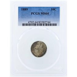1889 Seated Liberty Dime Coin PCGS MS64