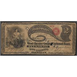 Contemporary Counterfeit 1865 $2 Lazy Deuce West Chester National Bank Note