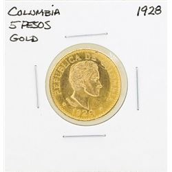 1928 Columbia 5 Pesos Gold Coin