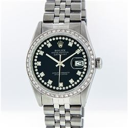 Rolex Mens Stainless Steel Black String Diamond VS Datejust Wristwatch