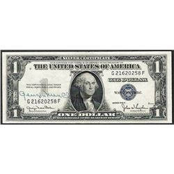 1935D $1 Silver Certificate Note with Courtesy Signature