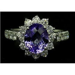 14KT White Gold 3.26 ctw Oval Cut Tanzanite and Diamond Anniversary Band Ring