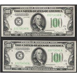 Lot of (2) Consecutive 1934 $100 Federal Reserve Notes