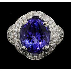 18KT White Gold 7.17 ctw Tanzanite and Diamond Ring