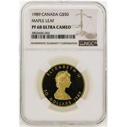 1989 Canada $50 Maple Leaf Gold Coin NGC PF68 Ultra Cameo